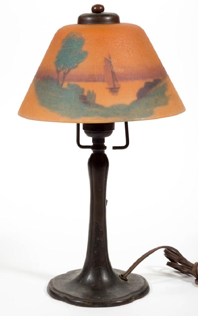 HANDEL REVERSE PAINTED GLASS TABLE LAMP