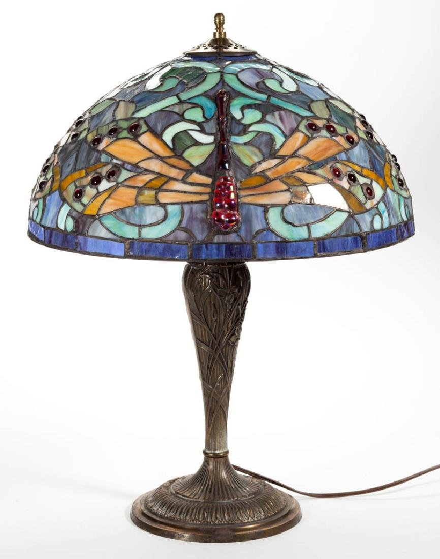 CONTEMPORARY TIFFANY-STYLE DRAGONFLY LEADED GLASS TABLE