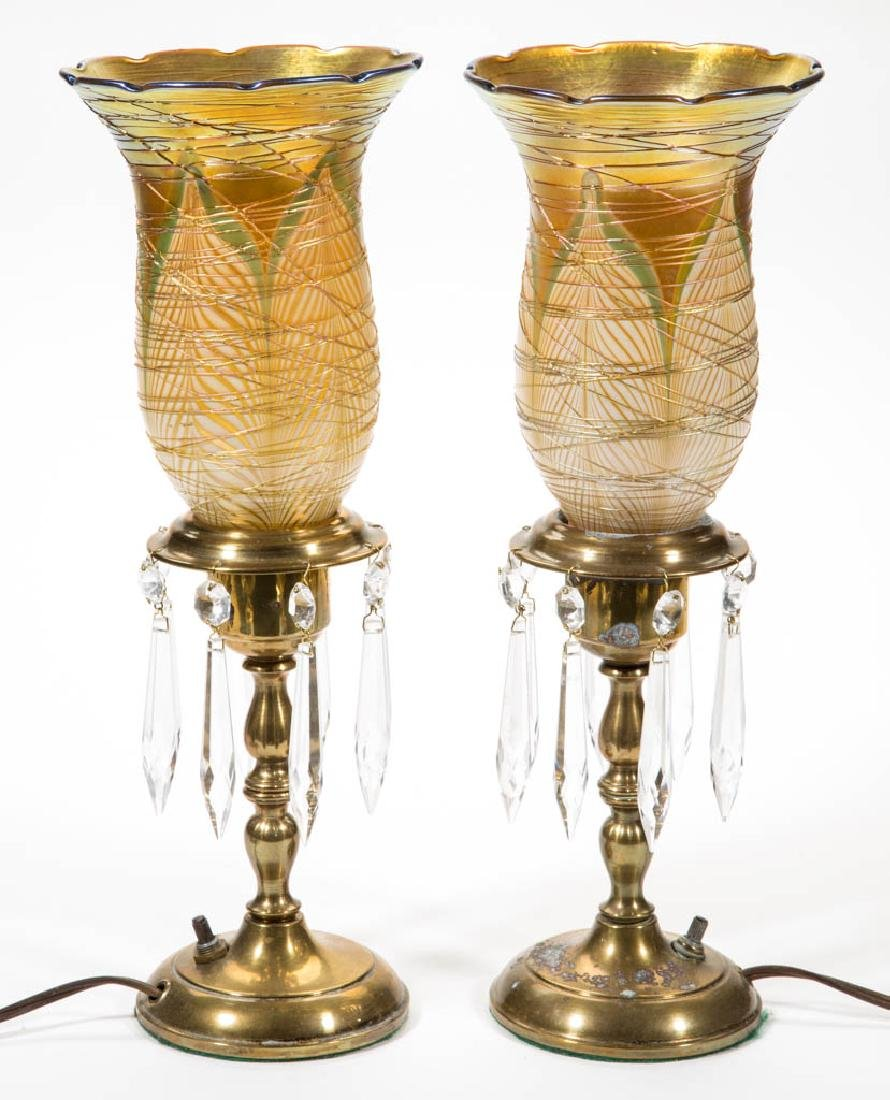 QUEZAL / DURAND PULLED FEATHER ART GLASS LAMPS, LOT OF