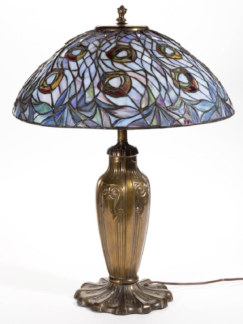 CONTEMPORARY TIFFANY-STYLE PEACOCK LEAD GLASS TABLE