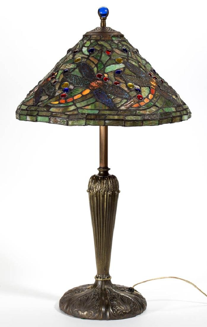 CONTEMPORARY TIFFANY-STYLE DRAGONFLY LEADED GLASS LAMP