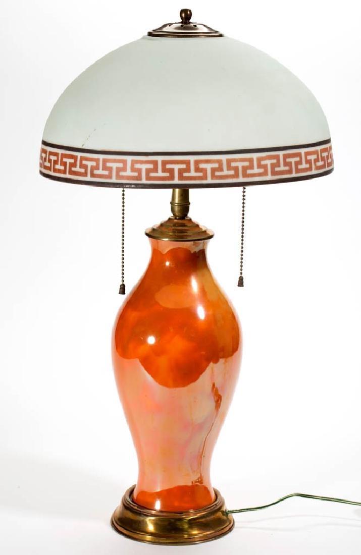 ORANGE MOTTLED CERAMIC LAMP BASE