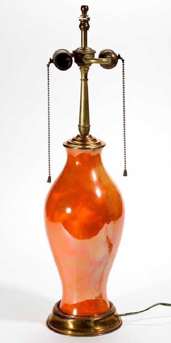 ORANGE MOTTLED CERAMIC LAMP BASE - 3