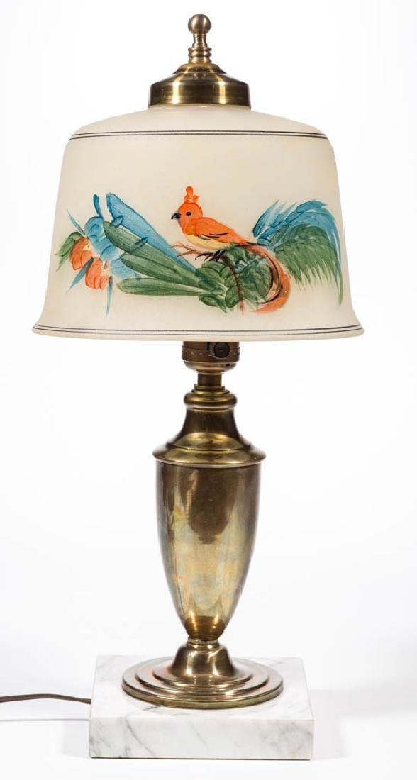 PAINT-DECORATED ELECTRIC TABLE LAMP