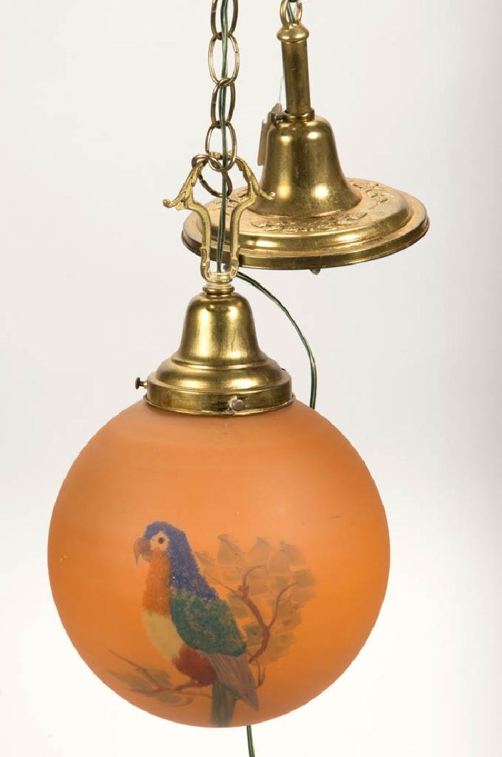PARROT DECORATED AND FROSTED HALL LAMP
