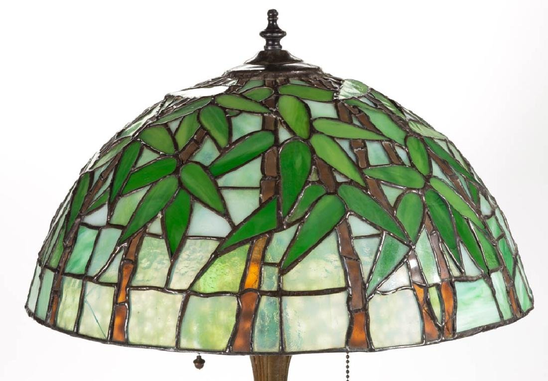 TIFFANY-STYLE BAMBOO LEADED GLASS TABLE LAMP - 2