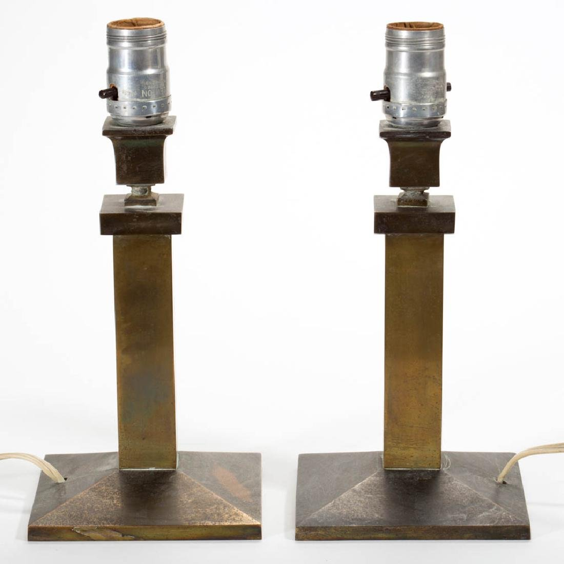 BRADLEY AND HUBBARD BRASS PAIR OF LAMP BASES