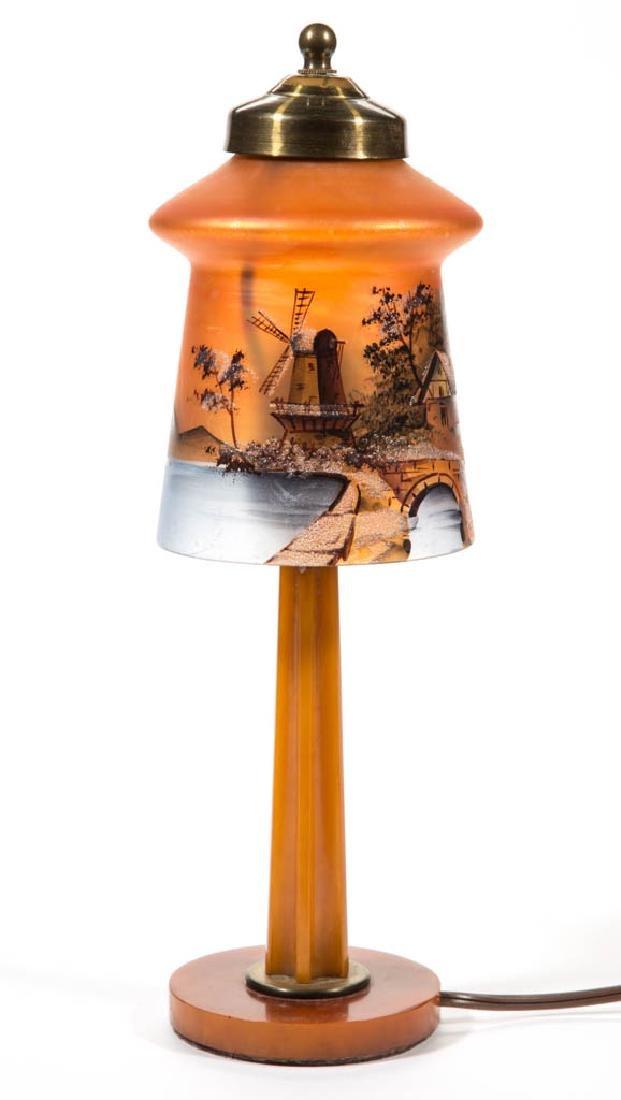 VINTAGE ORANGE BAKELITE LAMP BASE