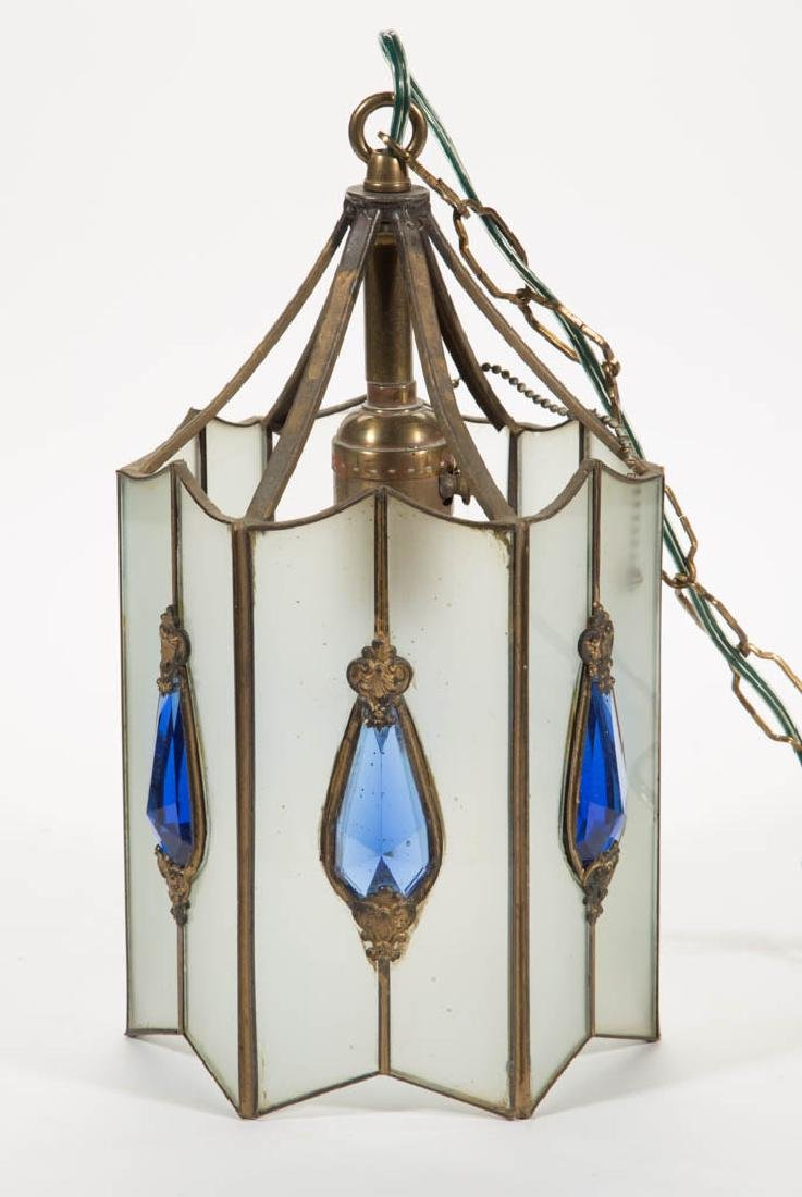 REVERSE FROSTED AND JEWELLED GLASS HALL LAMP