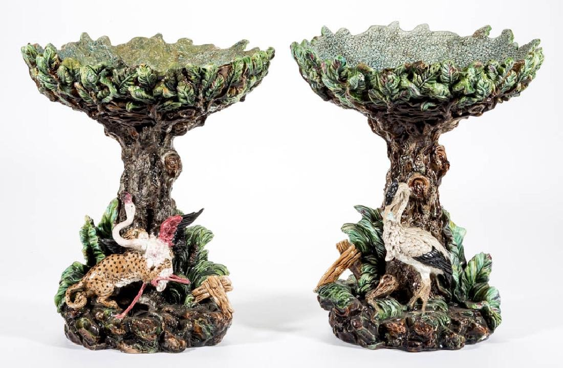 GERMAN RICHARD KRAUSE SCHWEIDNITZ MAJOLICA CERAMIC PAIR