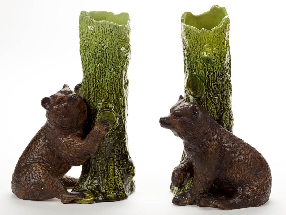 ENGLISH BRETBY MAJOLICA CERAMIC PAIR OF BEAR VASES