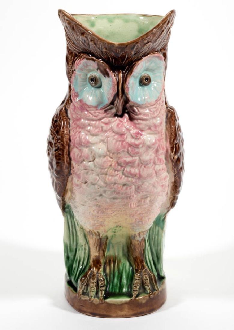 ENGLISH MAJOLICA LARGE CERAMIC OWL PITCHER