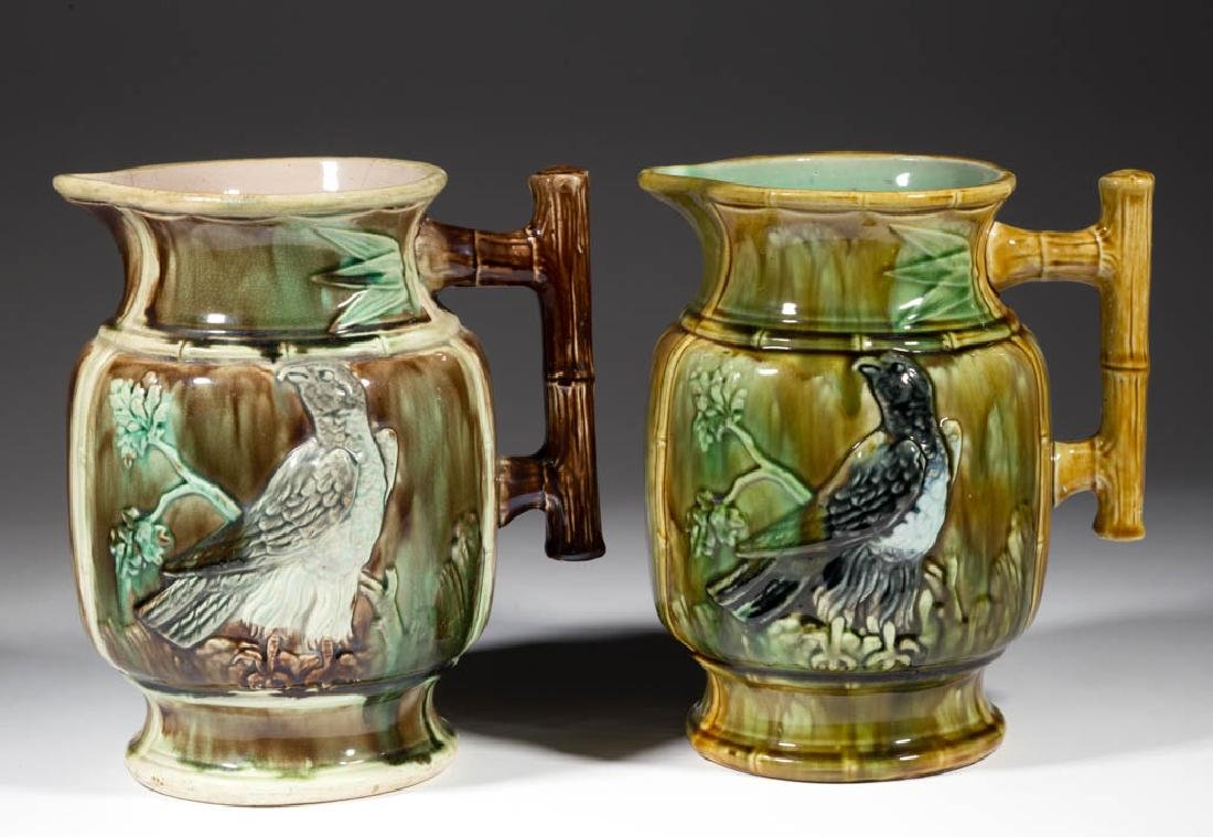 ENGLISH MAJOLICA EAGLE ON BRANCH PAIR OF PITCHERS