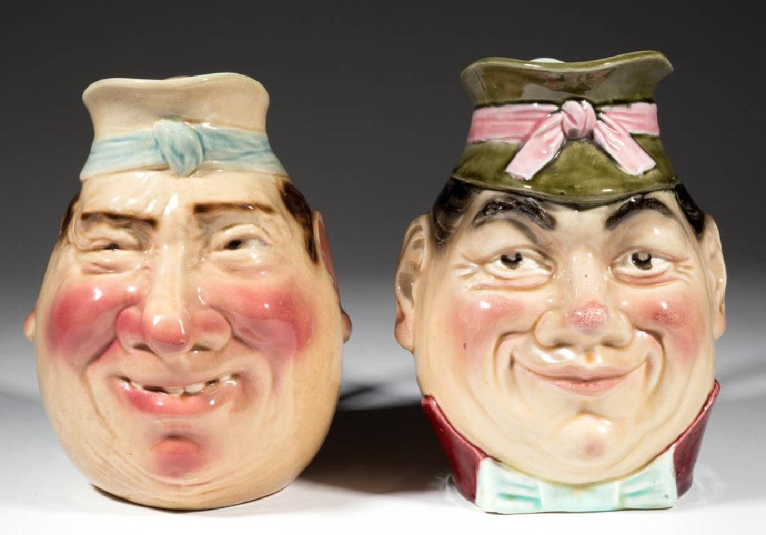 CONTINENTAL MAJOLICA CERAMIC FACE / TOBY PITCHERS, LOT