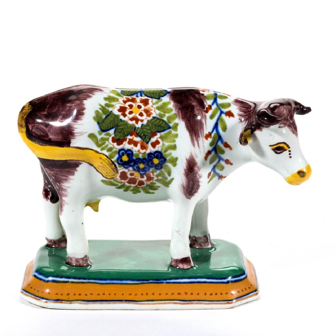 FRENCH FAIENCE / MAJOLICA CERAMIC COW FIGURE