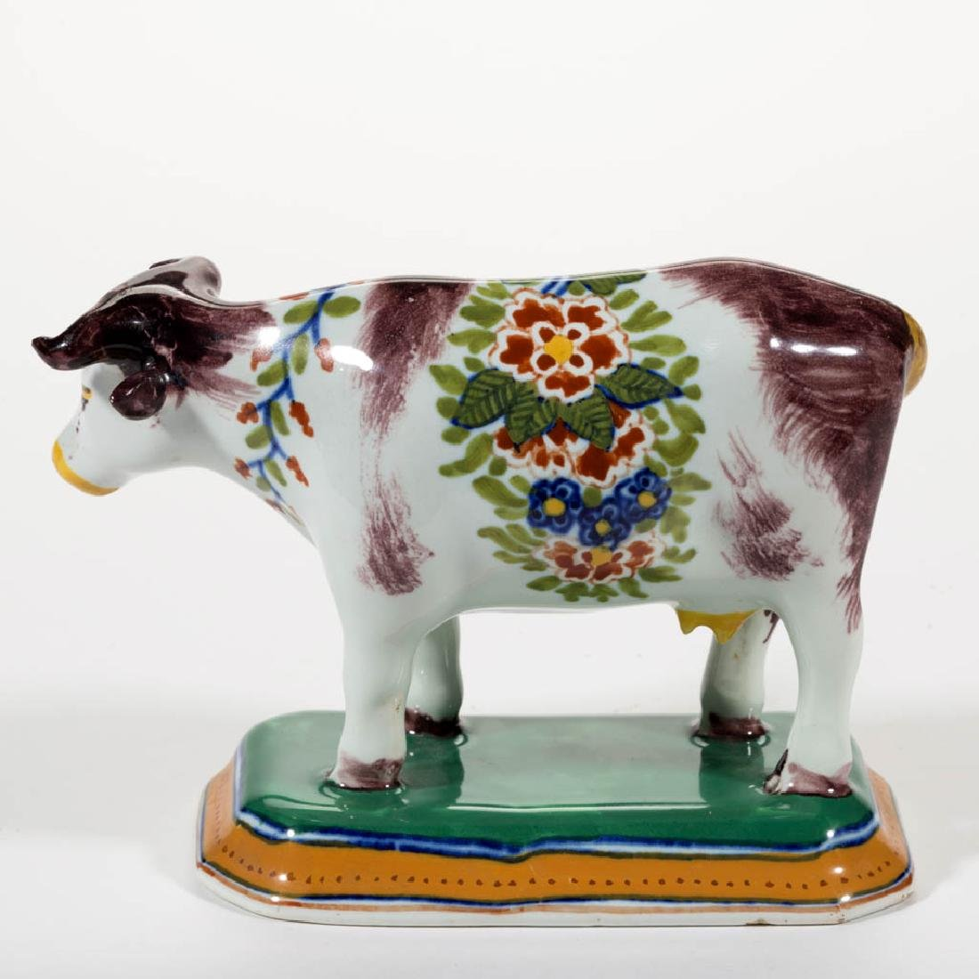 FRENCH FAIENCE / MAJOLICA CERAMIC COW FIGURE - 2