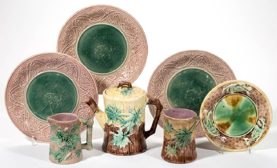 AMERICAN ETRUSCAN MAJOLICA CERAMIC ARTICLES, LOT OF