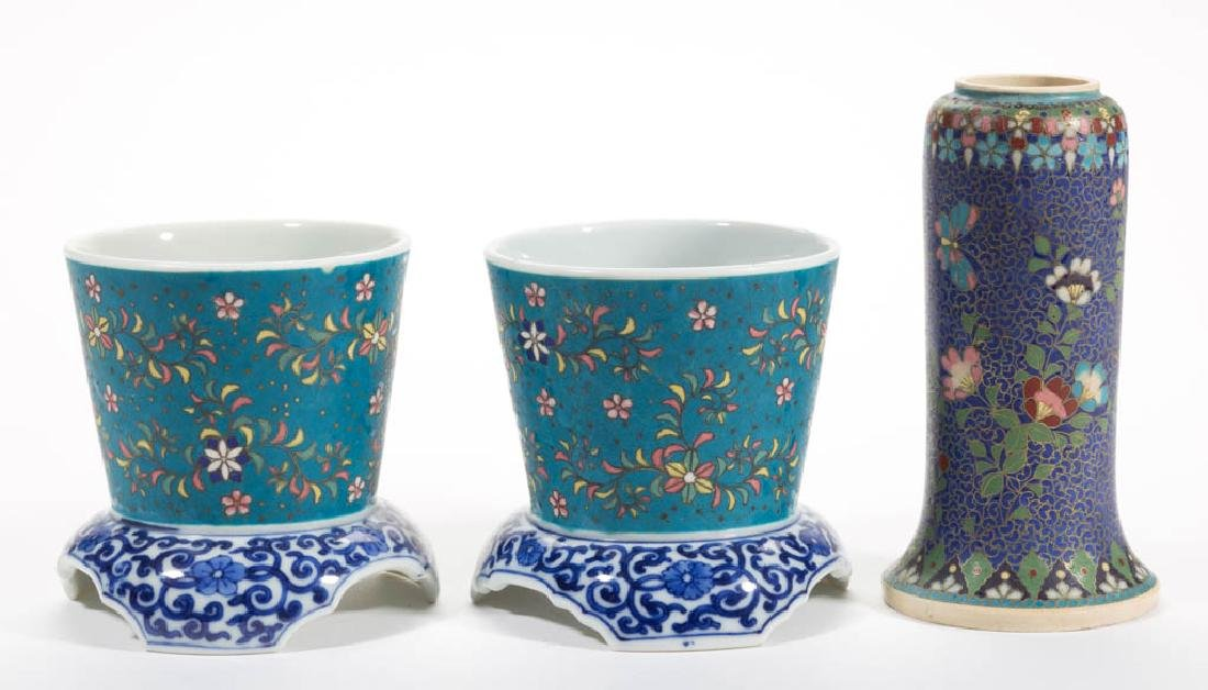 JAPANESE CLOISONNE CERAMIC ARTICLES, LOT OF THREE
