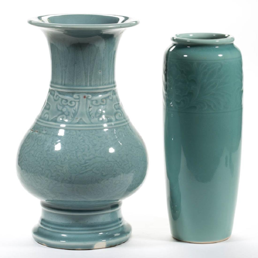 CHINESE CELADON CERAMIC VASES, LOT OF TWO