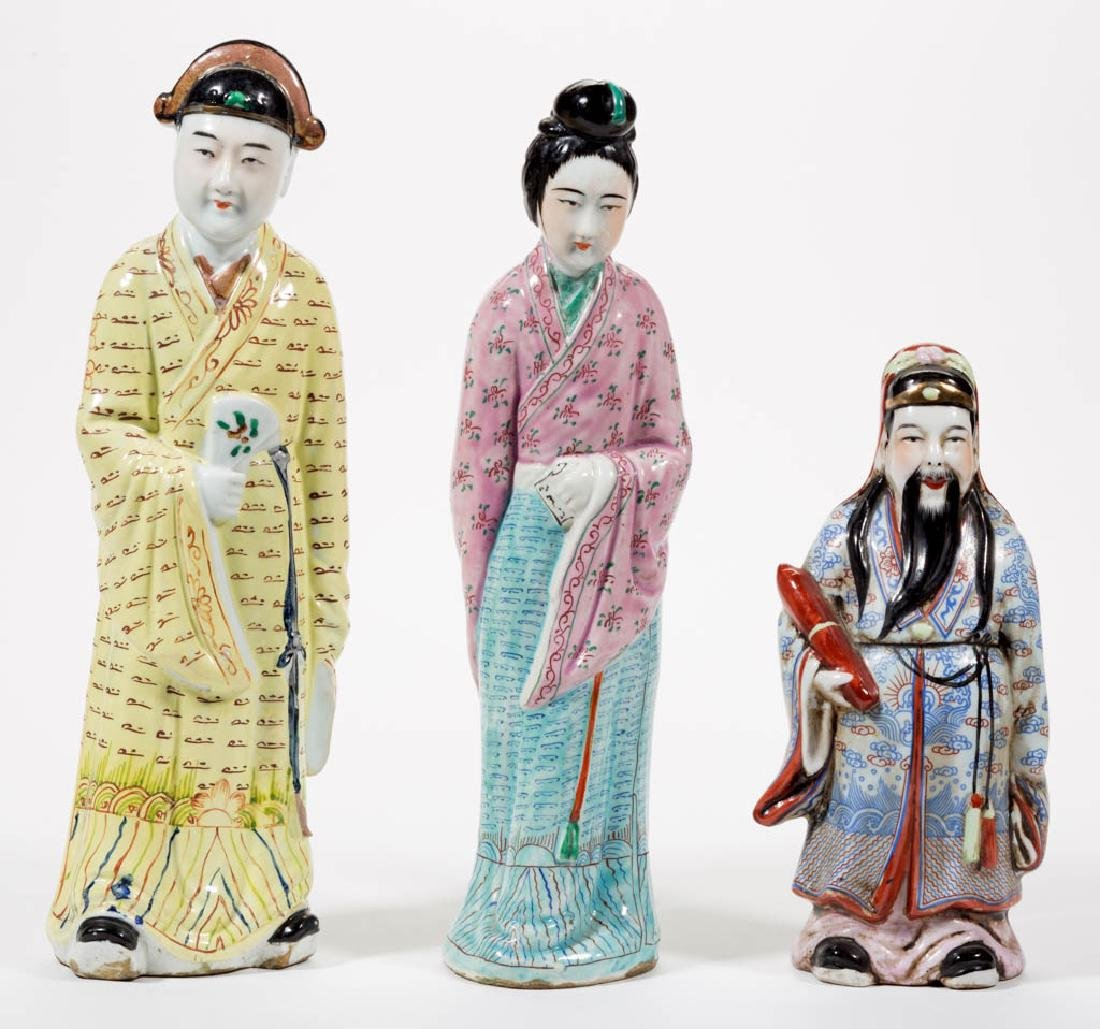 CHINESE EXPORT PORCELAIN FIGURES, LOT OF THREE