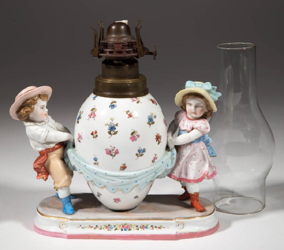 GERMAN, KPM PORCELAIN FIGURAL KEROSENE LAMP