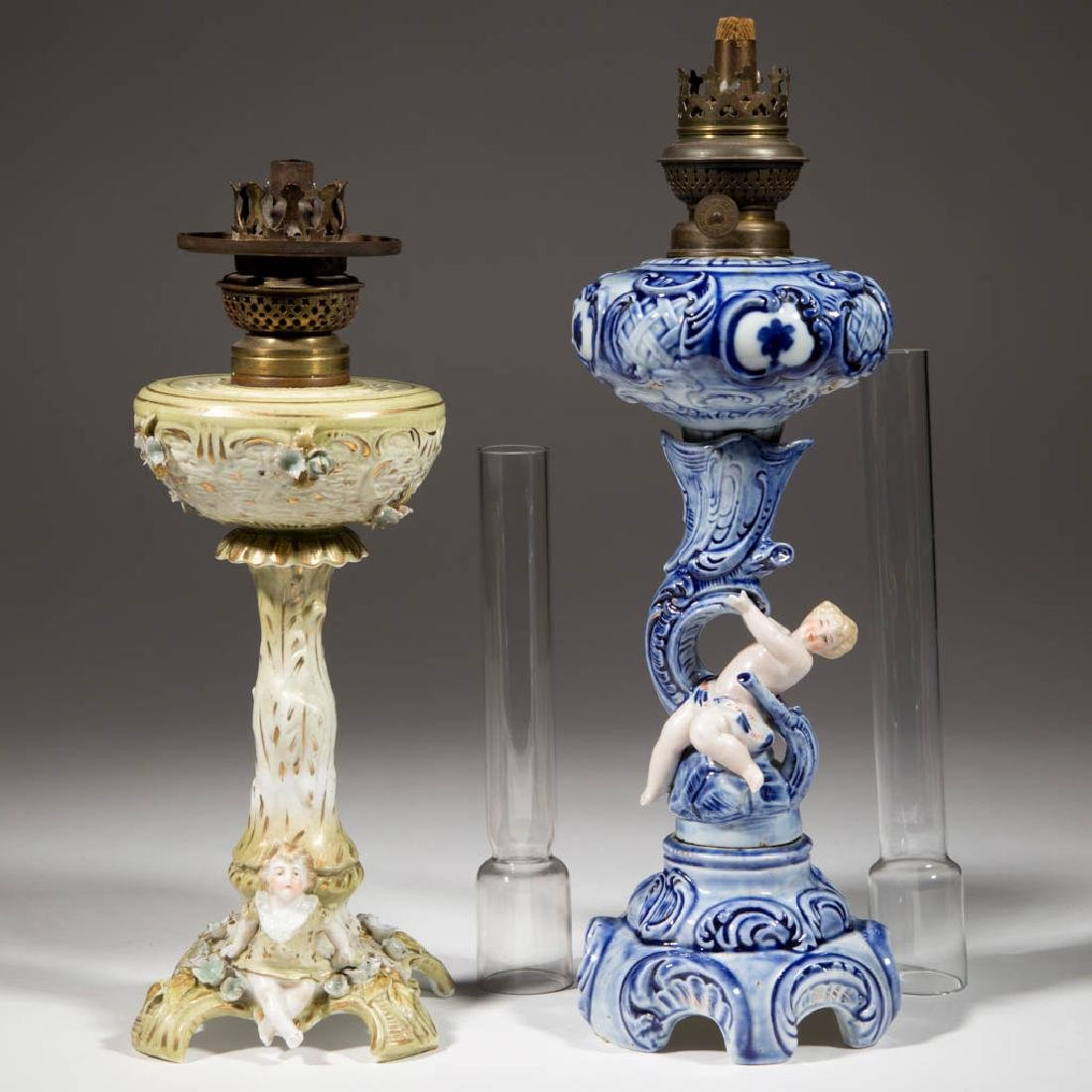 GERMAN PORCELAIN FIGURAL KEROSENE STAND LAMPS, LOT OF