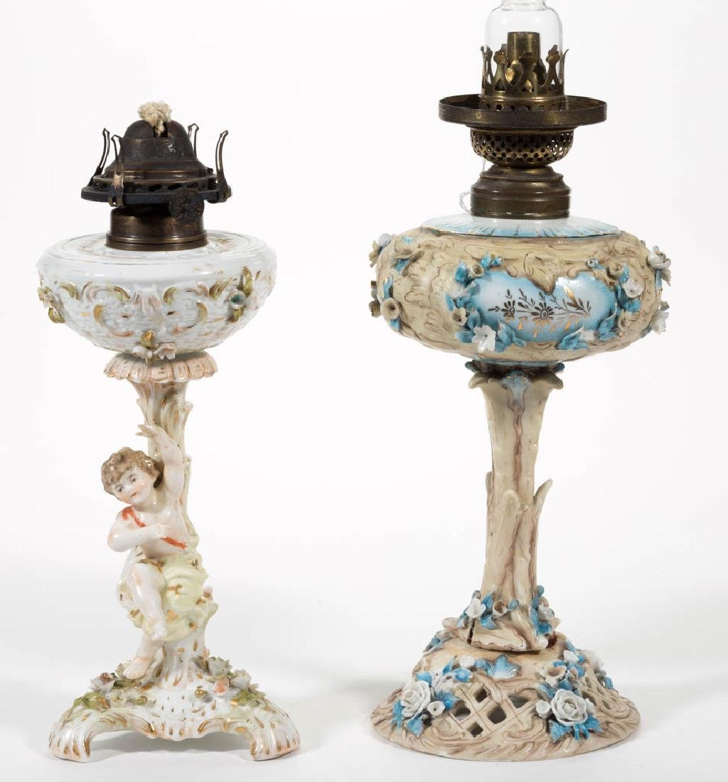 GERMAN PORCELAIN FIGURAL KEROSENE STAND LAMPS, LOT OF