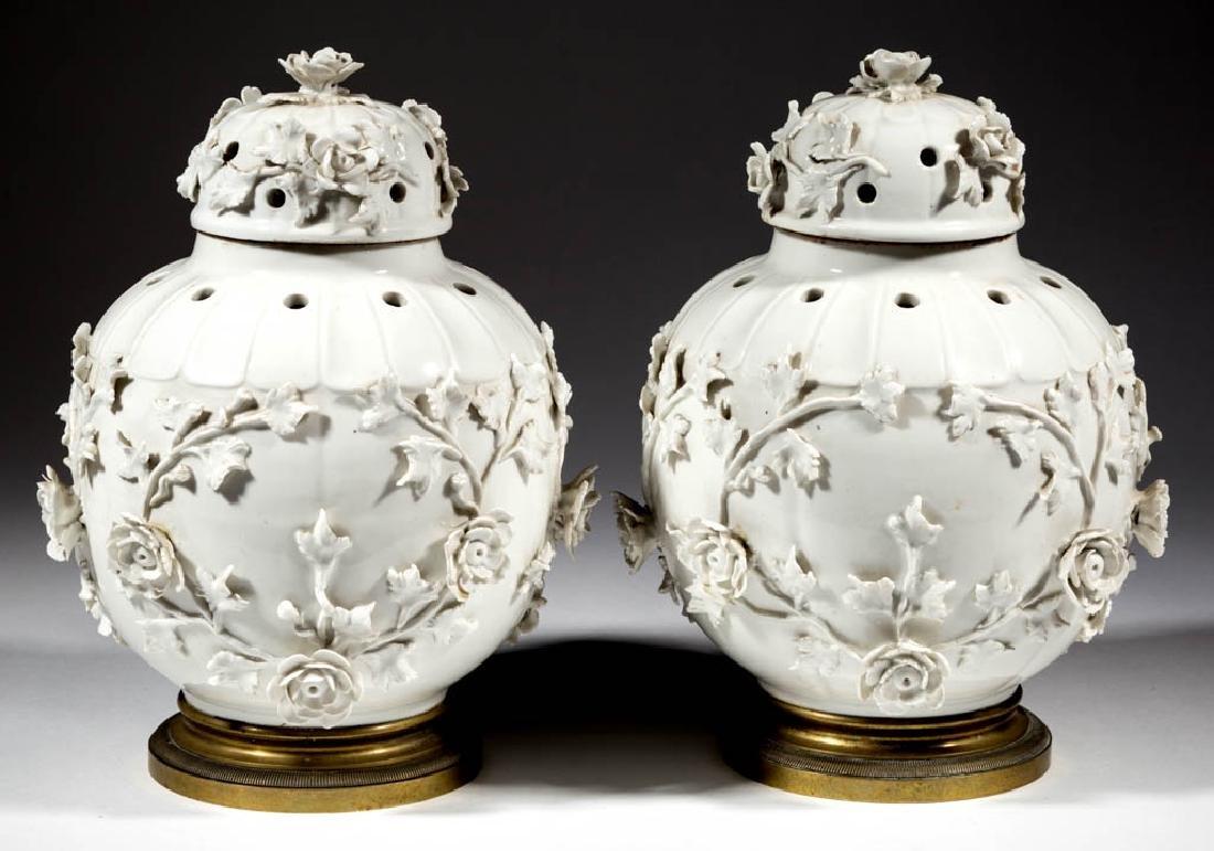 FRENCH SAINT CLOUD PORCELAIN PAIR OF POTPOURRI JARS