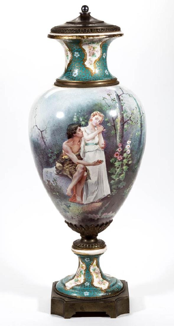 FRENCH SEVRES-STYLE PORCELAIN BOLTED PALACE URN