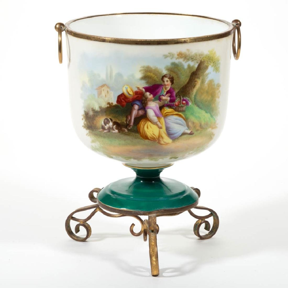 FRENCH PORCELAIN MOUNTED URN