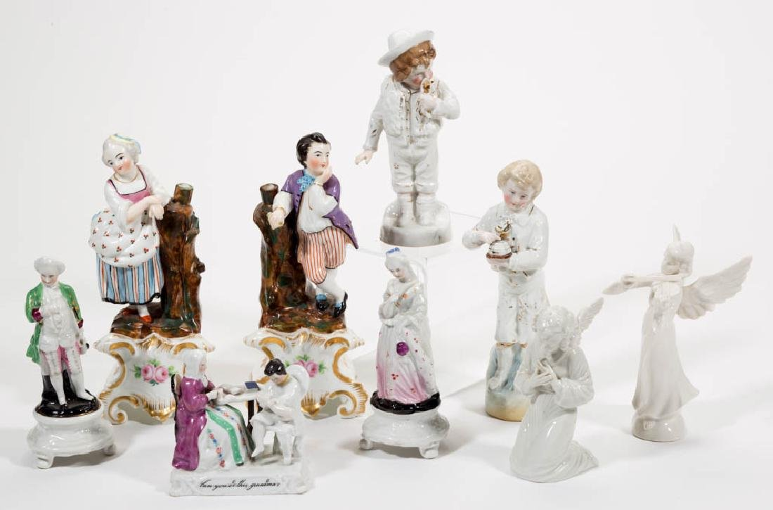 CONTINENTAL CERAMIC FIGURES, LOT OF NINE