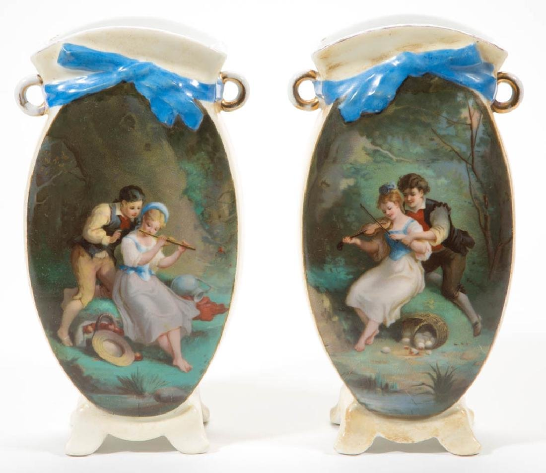 CONTINENTAL PORCELAIN PAIR OF VASES