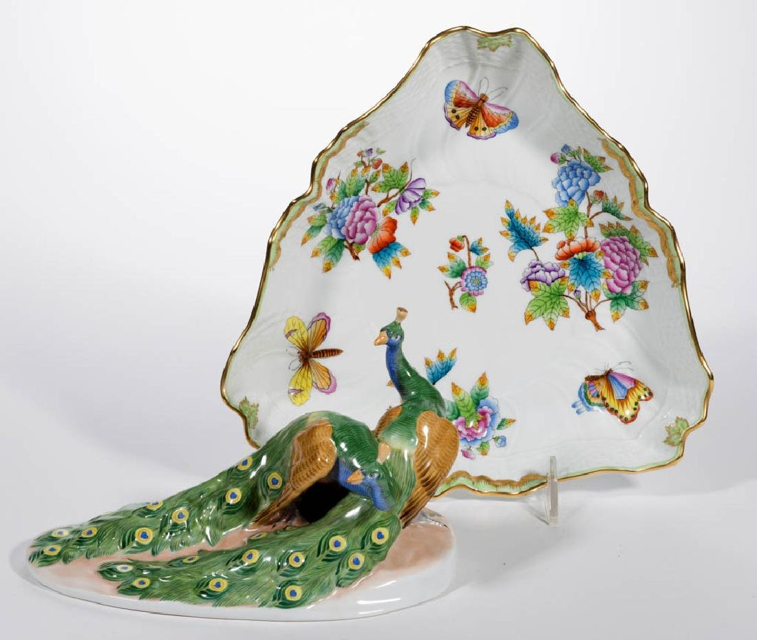 HUNGARIAN HEREND PORCELAIN ARTICLES, LOT OF TWO