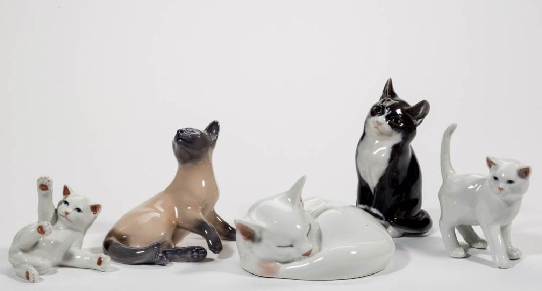 DANISH ROYAL COPENHAGEN CERAMIC CAT FIGURES, LOT OF