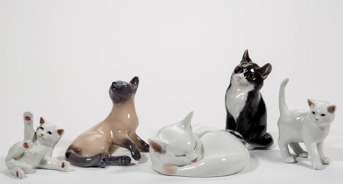 DANISH ROYAL COPENHAGEN CERAMIC CAT FIGURES, LOT OF