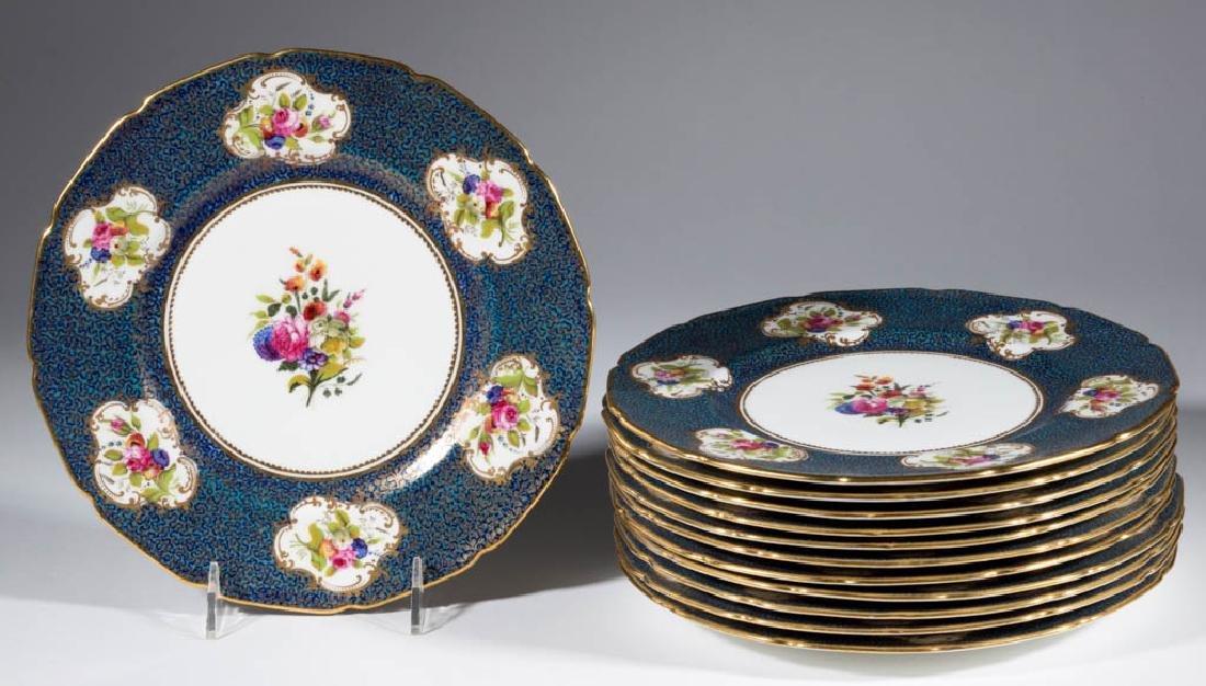 ENGLISH ROYAL DOULTON CERAMIC DINNER PLATES, SET OF 12