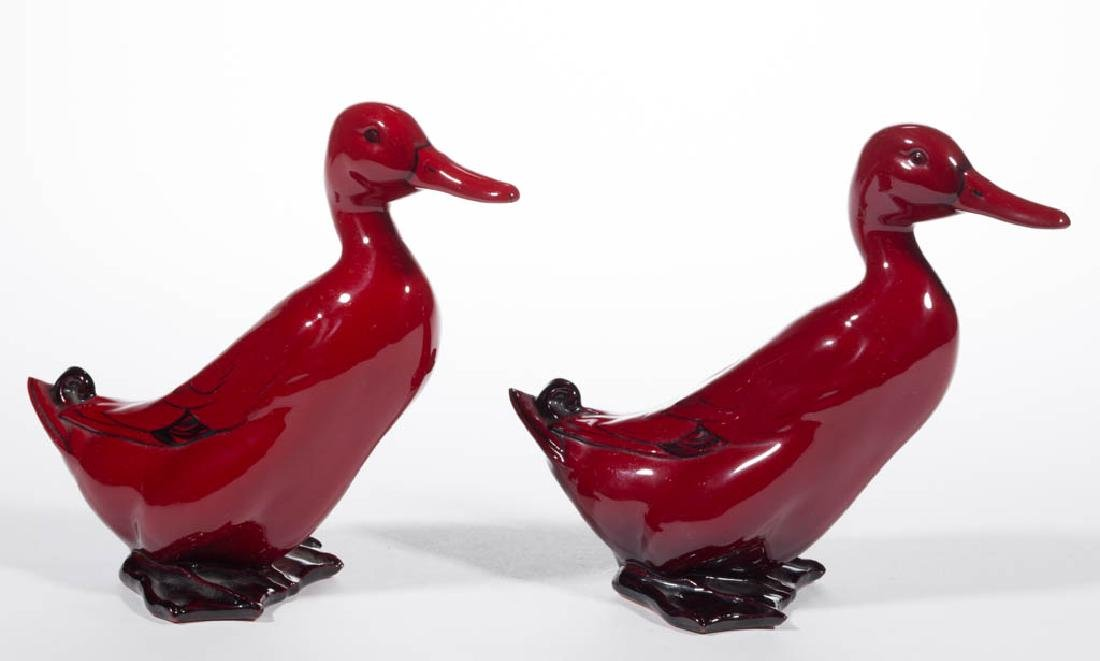 ENGLISH ROYAL DOULTON FLAMBE CERAMIC PAIR OF DUCKS