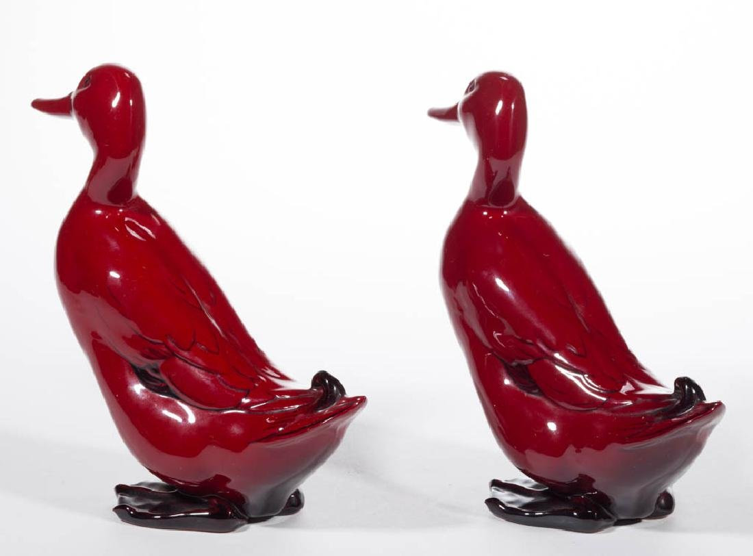 ENGLISH ROYAL DOULTON FLAMBE CERAMIC PAIR OF DUCKS - 2