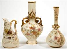 ENGLISH ROYAL WORCESTER CERAMIC ARTICLES, LOT OF THREE