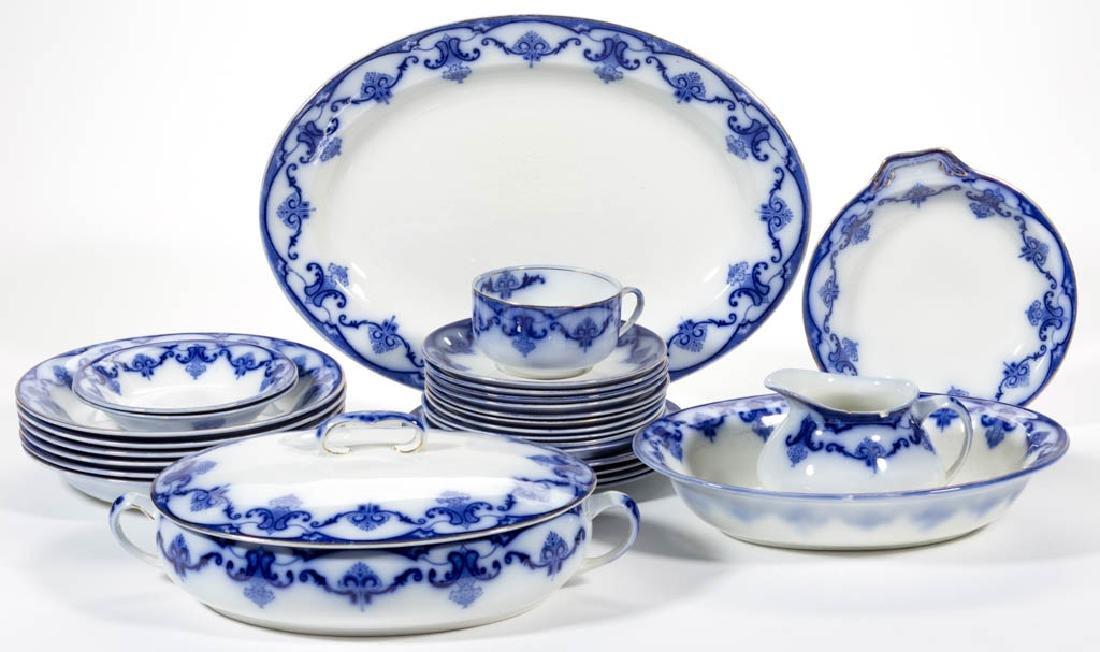 """ENGLISH W. H. GRINDLEY """"LYNDHURST"""" FLOW BLUE TABLEWARE,"""
