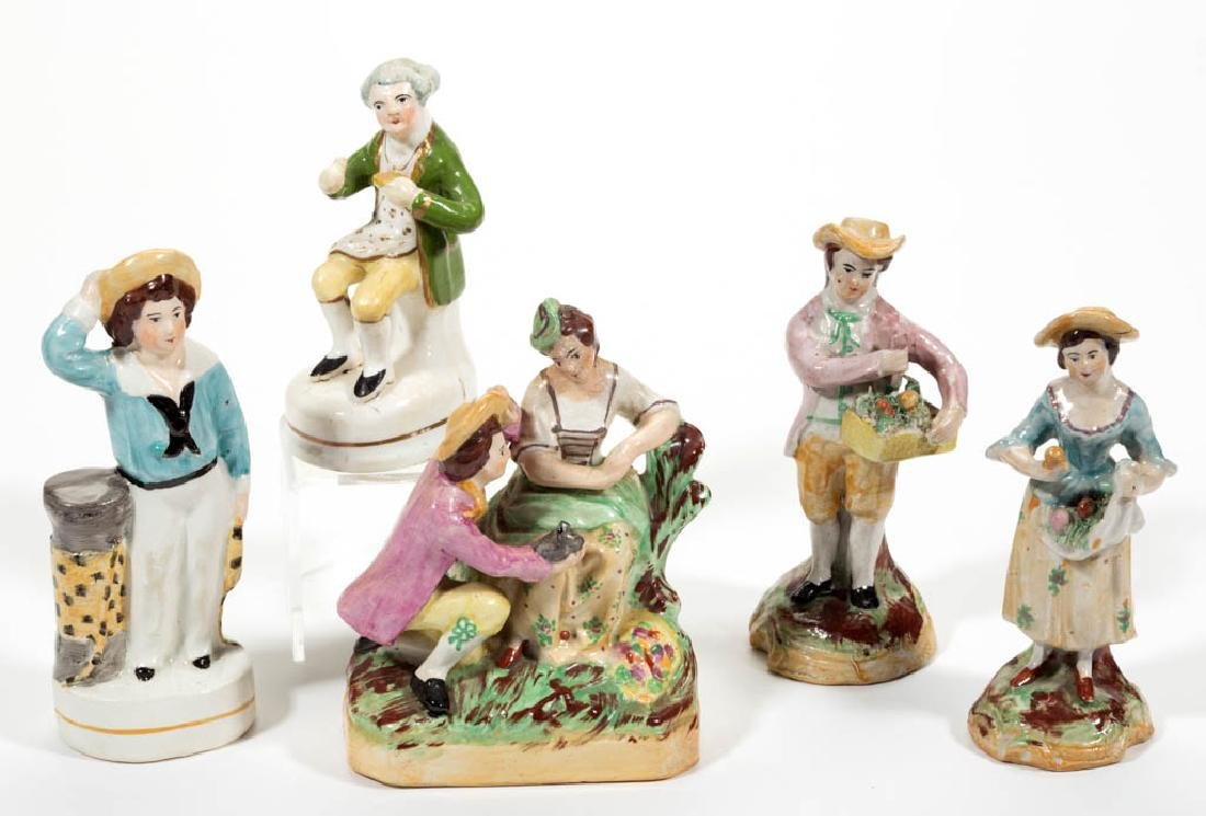 ENGLISH CERAMIC FIGURES, LOT OF FIVE