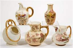 ENGLISH ROYAL WORCESTER CERAMIC PITCHERS, LOT OF FIVE