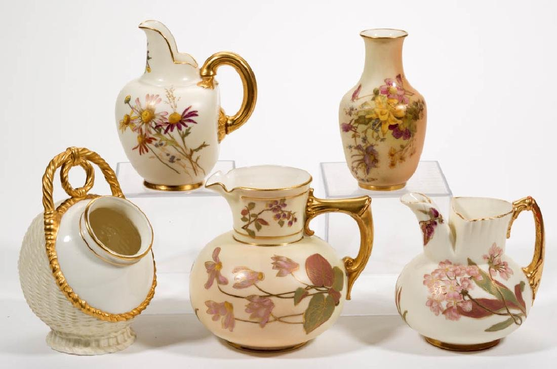 ENGLISH ROYAL WORCESTER CERAMIC PITCHERS, LOT OF SIX