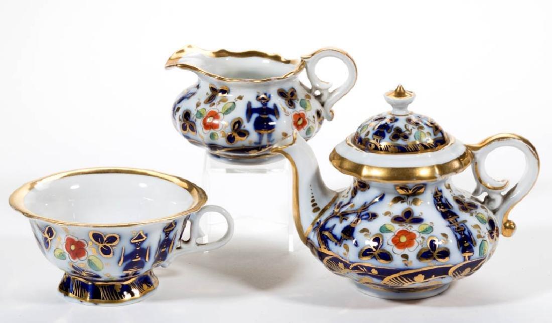 ENGLISH GAUDY IRONSTONE TEA ARTICLES, LOT OF THREE