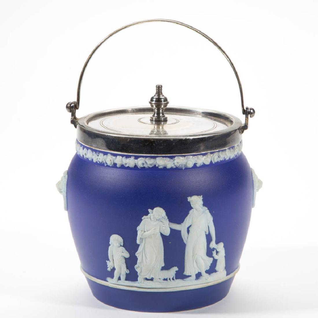 ENGLISH WEDGWOOD JASPERWARE BISCUIT JAR