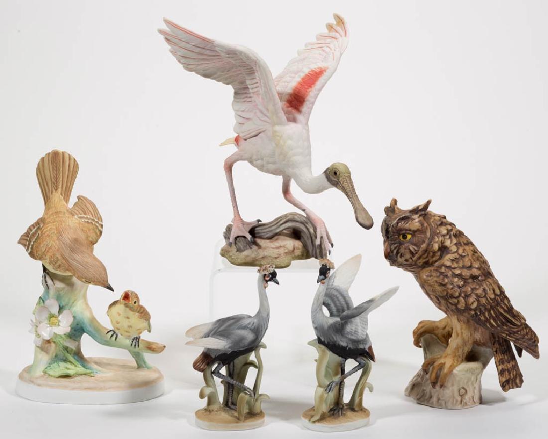 ASSORTED BISQUE CERAMIC BIRD FIGURES, LOT OF FIVE