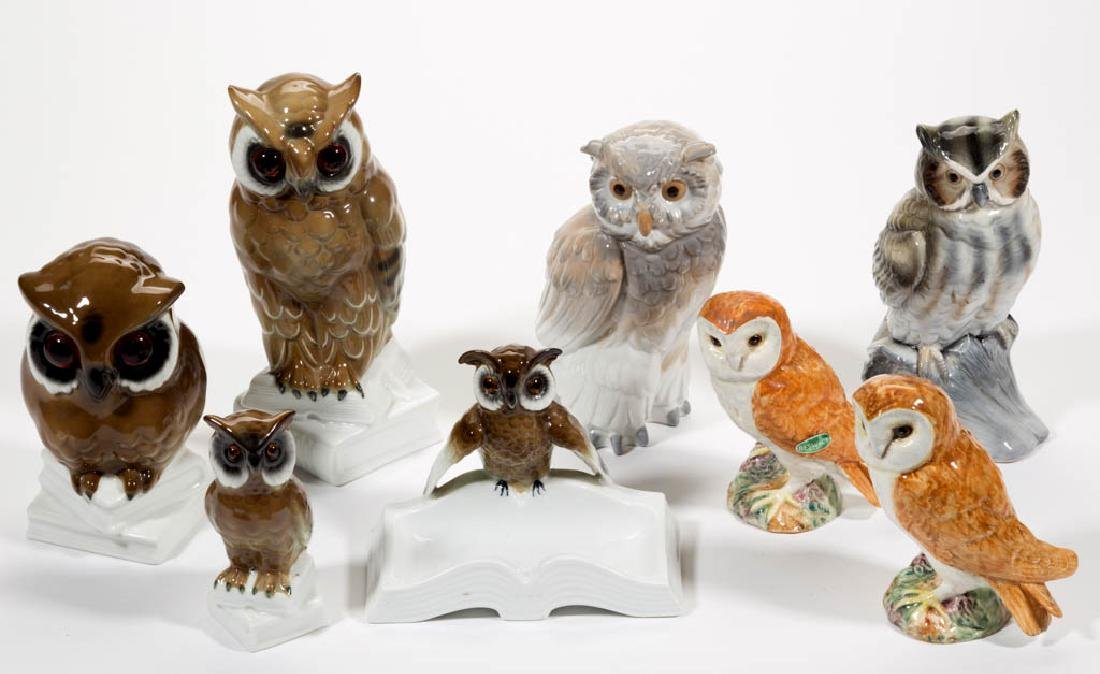 ASSORTED CERAMIC OWL FIGURES, LOT OF EIGHT
