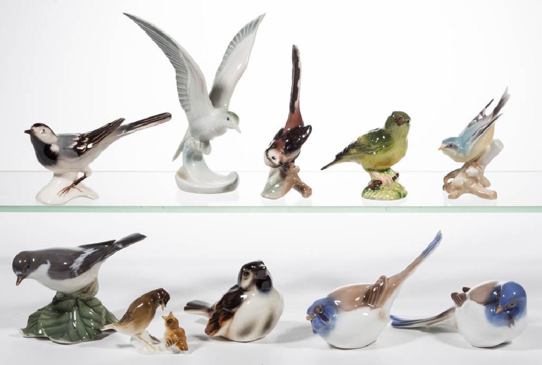 ASSORTED CERAMIC BIRD FIGURES, LOT OF TEN