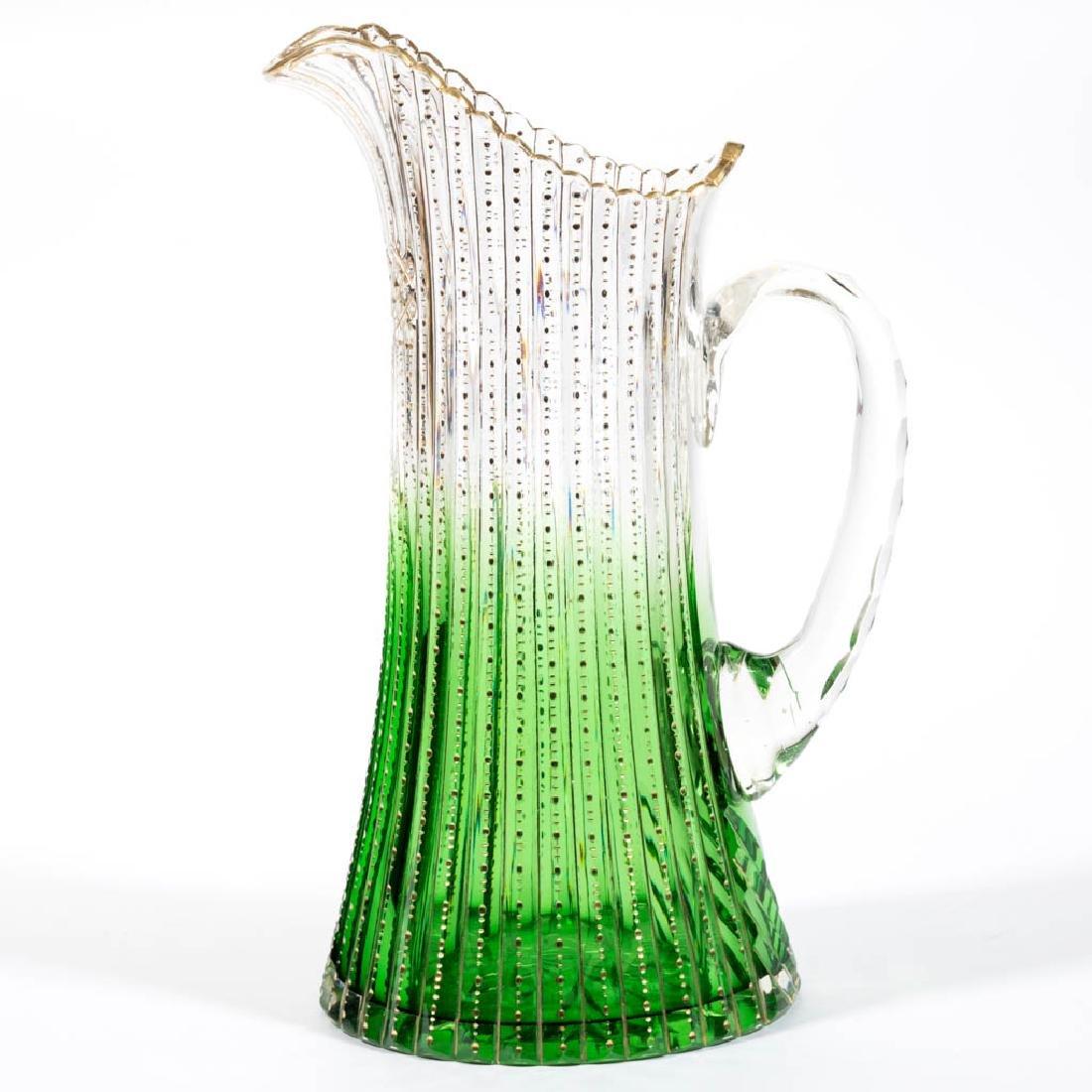 SHADED GREEN ZIPPERED CUT GLASS PITCHER