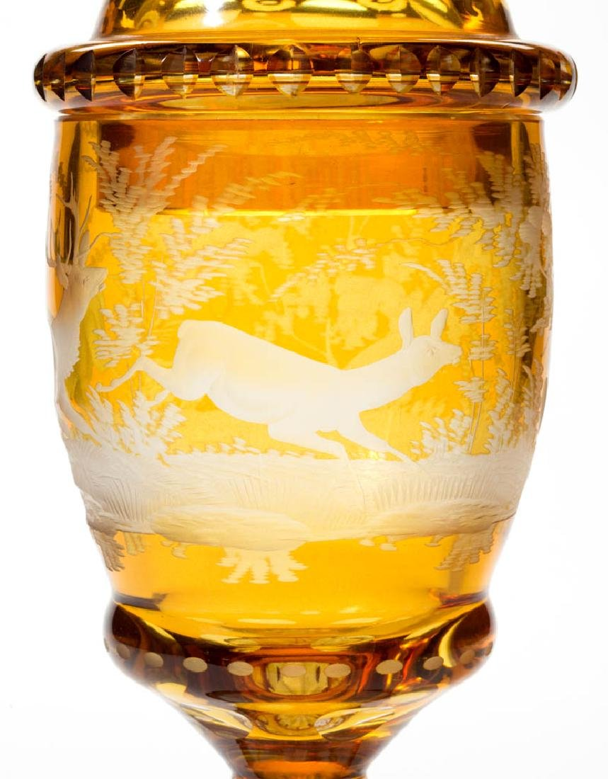 BOHEMIAN CUT OVERLAY AND ENGRAVED POKAL - 3